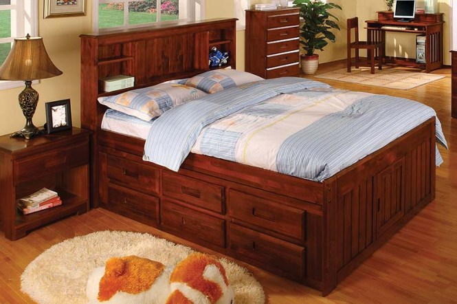 Discovery World Furniture Merlot Full Captain Bed With Media Chest Nightstand Kfs S