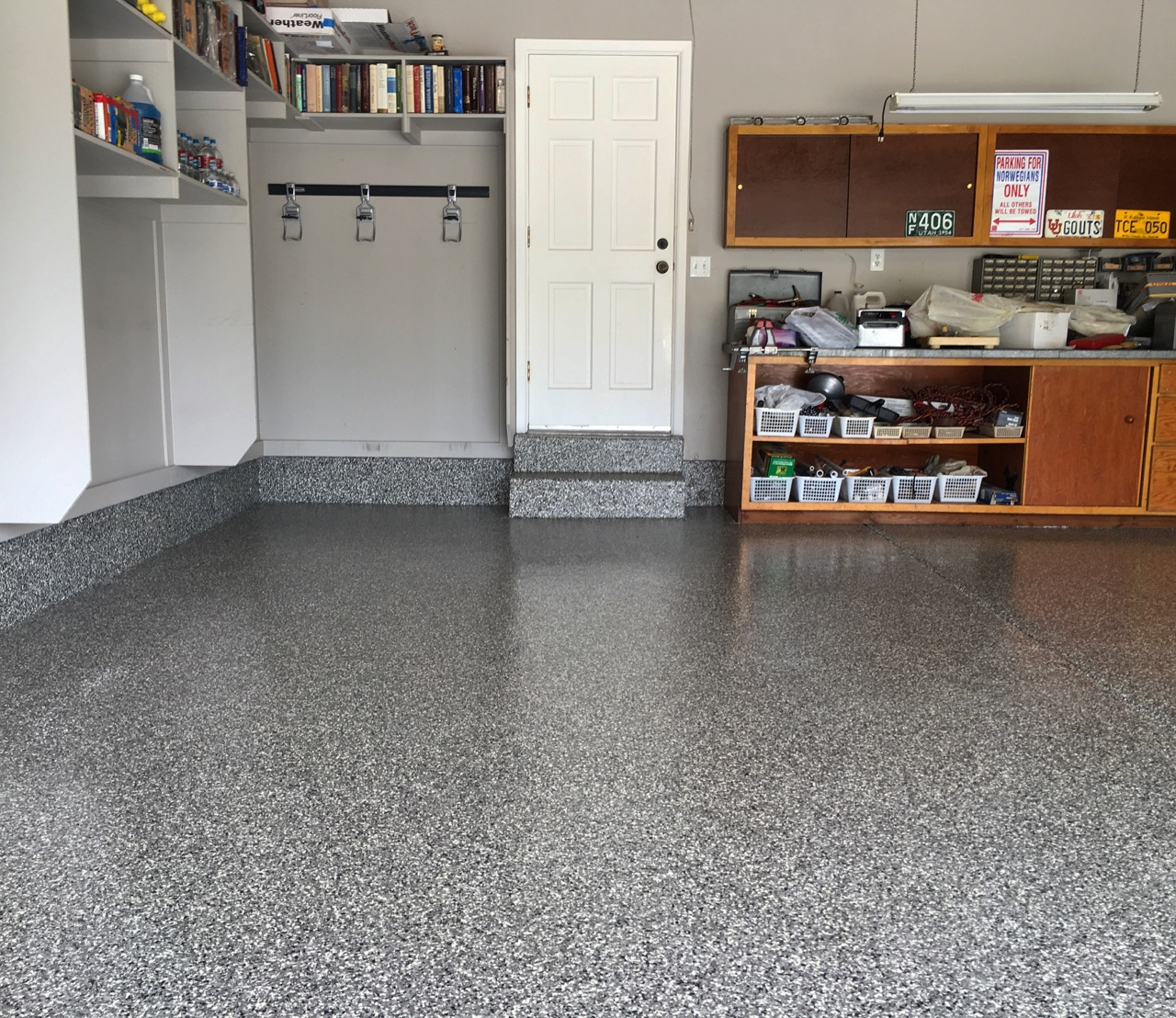 epoxy floor full broadcast epoxy covered garage floor