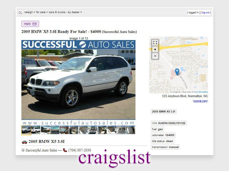 DMS craigslist posting by car dealer
