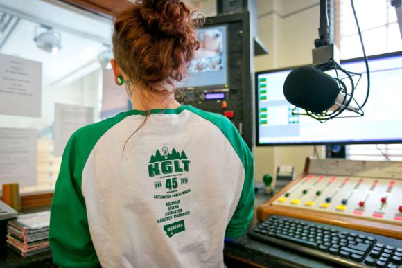 KGLT DJ Emily Schaefer wearing KGLT shirt
