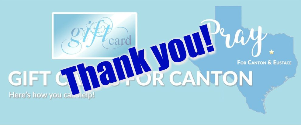 91.3 KGLY East Texas Christian Radio Gift Cards for Canton Thank You and Totals