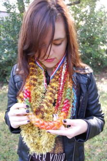 This is a jelly leis. King explains how all it consist of is jelly, wrapped in saran wrap, and braided through.