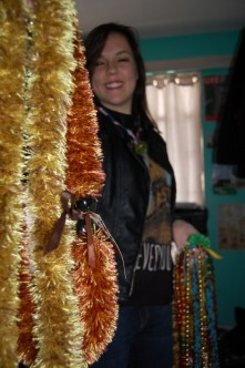 These two leis in particular are made from a combination of yarn and string.