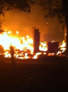Fire As It Burned Down Our Neighbor's House and Approached Our Woodlot before Dying Down