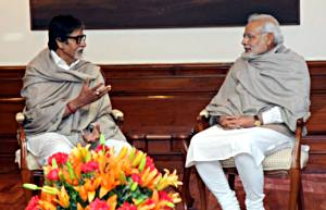 शनिचर का दिने बालिवुड के महानायक अमिताभ बच्चन नई दिल्ली में प्रधानमंत्री नरेन्द्र मोदी से भेंट कइलन.