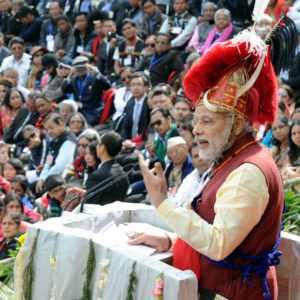 कोहिमा, नगालैंड में हार्नबिल महोत्सव को संबोधित करत. प्रधानमंत्री नरेन्द्र मोदी.