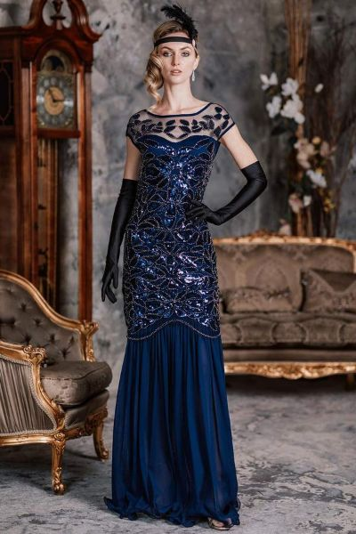 BLUE 1920S SEQUIN MAXI DRESS