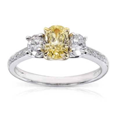 FANCY YELLOW & WHITE 3-STONE TRADITIONAL