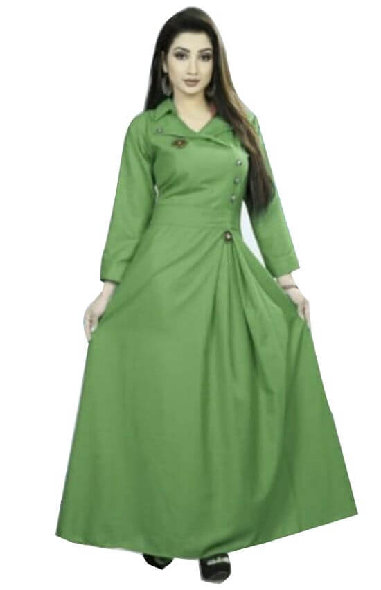 Florence Green Slub Cotton Embellished Stitched Kurtis