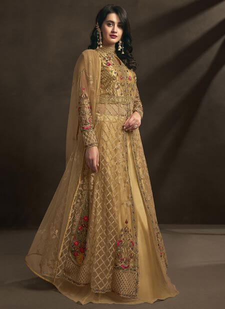 Gold Net Embroidered A Line Lehenga