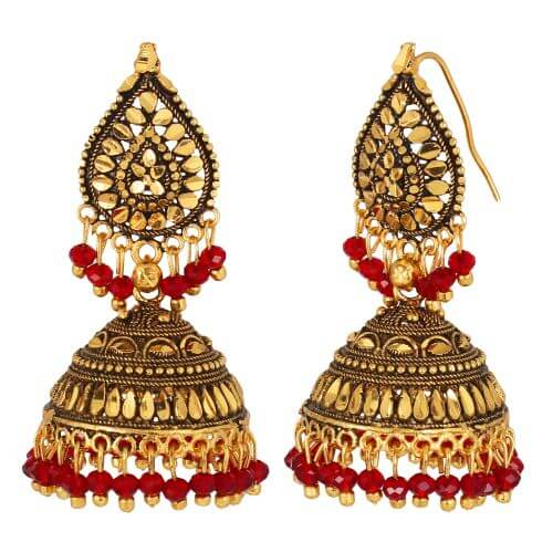 GoldNera Antique Alloy Jhumki Earring-GoldNera096