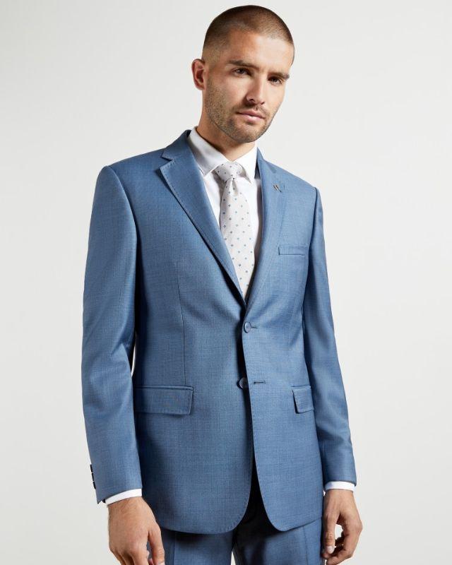 HECTORJ - Debonair sharkskin wool suit jacket Lt Blue
