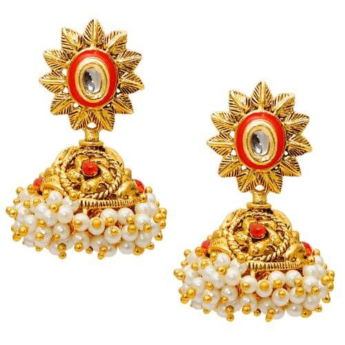 Kriaa by JewelMaze Red Austrian Stone Pearl Gold Plated Jhumki Earrings-AAA1213