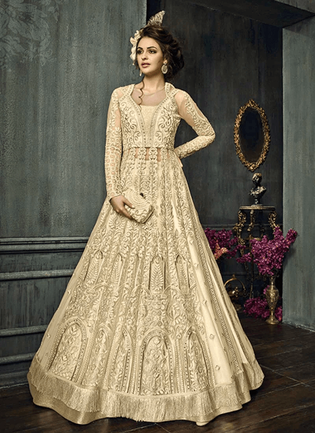 Off White Net A Line Lehenga