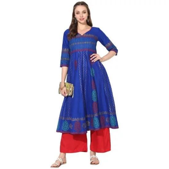 Varkha Fashion Royal Blue Block Print A line Kurta