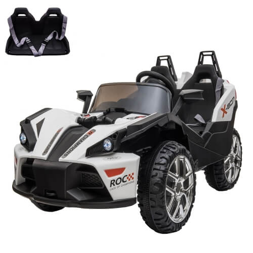 2 Seats Kids Electric Car 12V Racer Ride On Car with 2.4G Remote Control & Spring Suspension Wheels & LED Lights & Car Key (White Black)