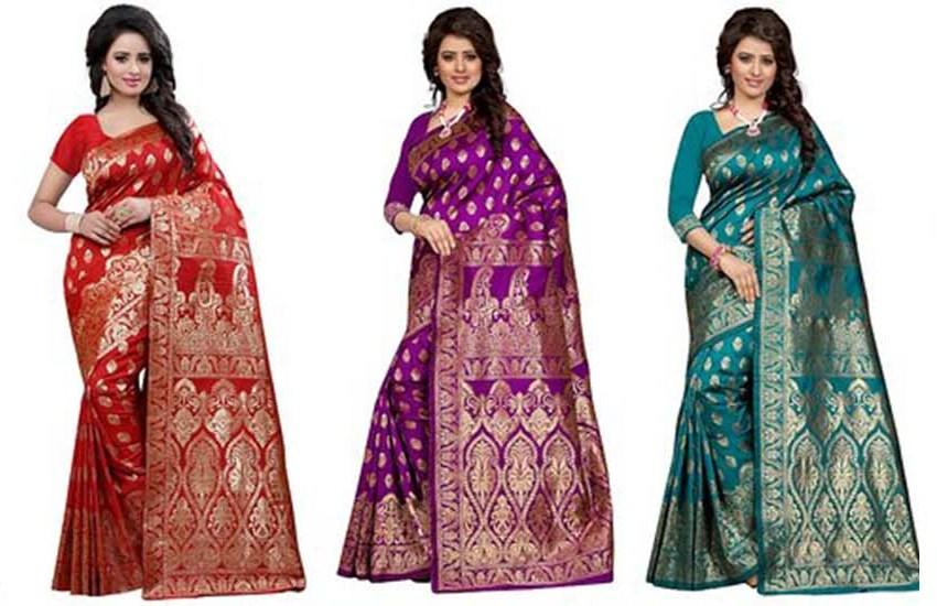 7 Awesome Ajira Silk Self Design Sarees from Shopclues