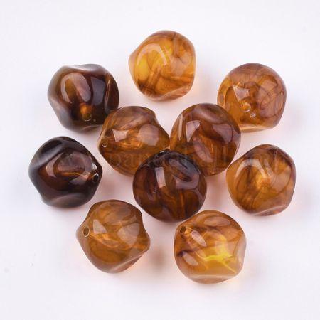 Acrylic Beads, Imitation Gemstone, Round, Chocolate, 16mm, Hole: 1.8mm (X-OACR-T006-213)