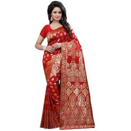 Ajira Black Banarasi Silk Self Design Saree With Blouse 02