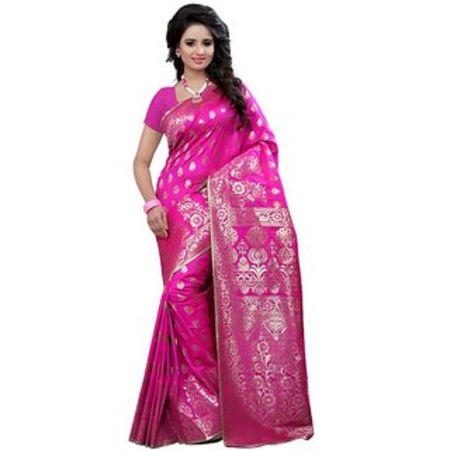 Ajira Black Banarasi Silk Self Design Saree With Blouse 05