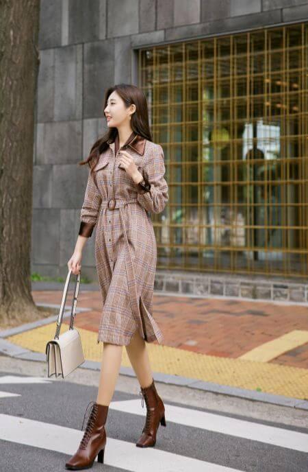 Autumn Velvet Mix Maxi Shirt Dress with Belt
