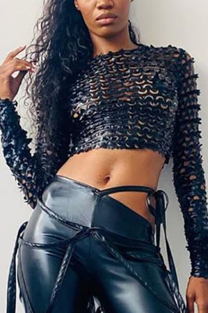 Black Fashion Solid Hollowed Out O Neck Tops