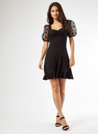 Black Spot Print Organza Sleeve Dress