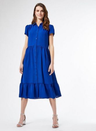 Blue Smock Shirt Dress