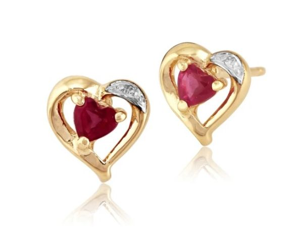 CLASSIC HEART RUBY & DIAMOND STUD EARRINGS IN 9CT YELLOW GOLD