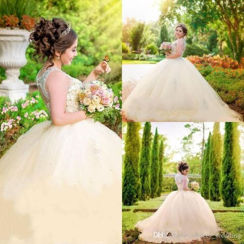 Champagne Princess 2018 Quinceanera Dresses Ball Gown Sheer Neck Major Beaded Custom Made Prom Gowns Tulle Tiered Cheap