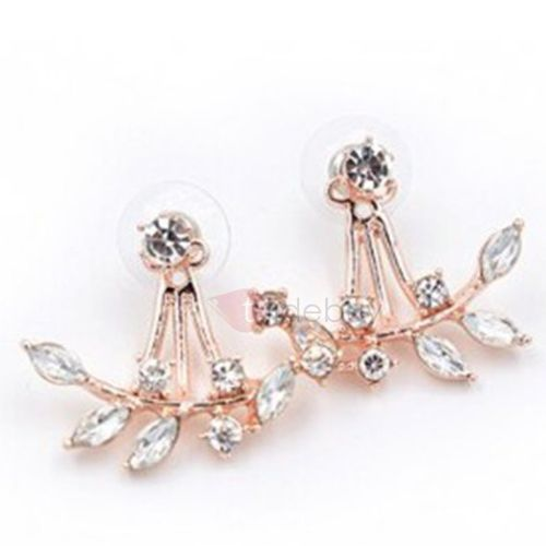 Chic Leaves Imitation Diamond Earrings