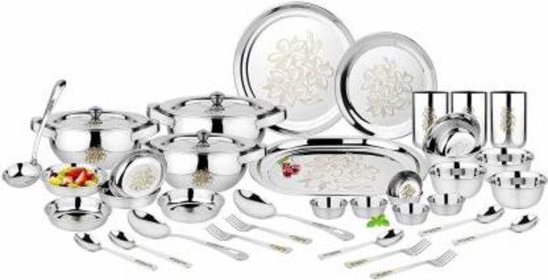 Classic Essentials Pack of 61 Stainless Steel Stainless Steel Flora Dinner set with permanent laser-61 pieces silver-Heavy gauge dinner set Dinner Set