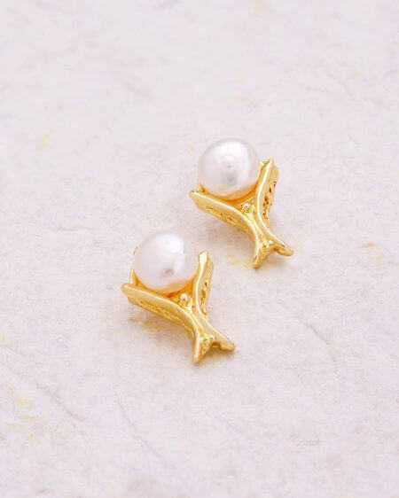 Dainty Yellow Gold Plated Stud Earrings