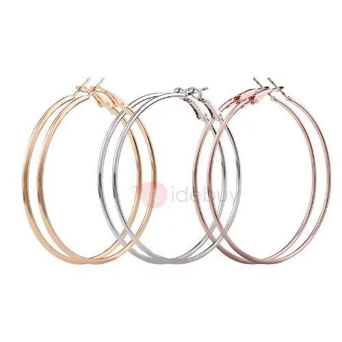 Geometric E-plating metallic Round Earrings