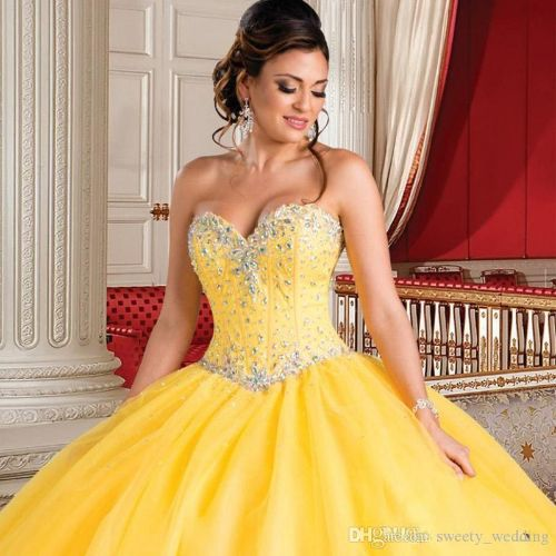 Gorgeous Princess Yellow Quinceanera Dresses with Jacket Beaded Crystal 2018 New Arrival Sweet 16 Dress vestidos de 15 anos Cheap Debutante