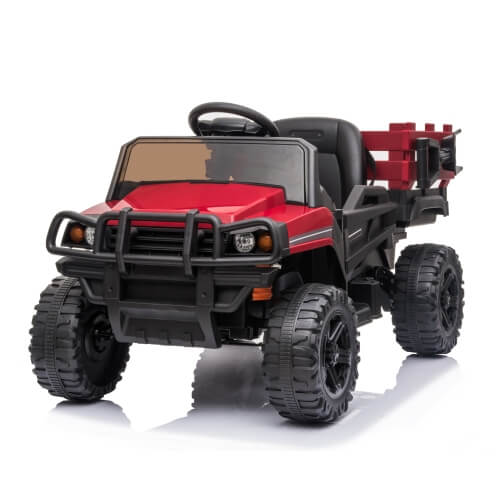 Kids Ride on Car UTV with Trailer 12V Rechargeable Electric Agricultural Vehicle Rugged Truck Toy with USB & Bluetooth Audio(Red)