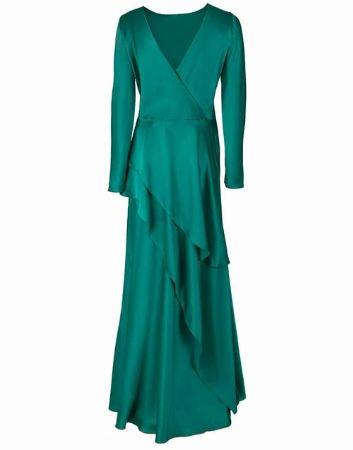 Long Sleeve Bateau Long V-Back Dress