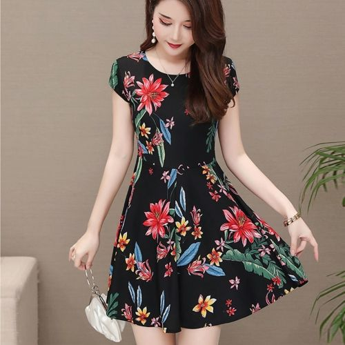 Medium Length Floral Dress Short Sleeve Printed A-line Skirt