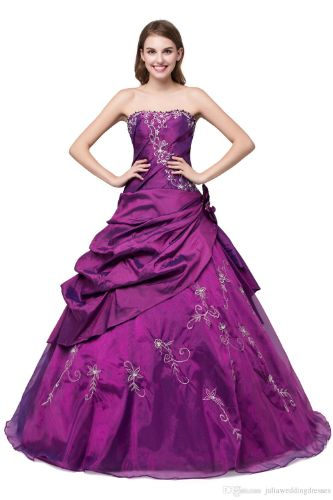 New Elegant Stock Purple - Royal Blue Ball Gown Quinceanera Dresses 2017 Beaded Crystals Sweet 16 Dresses For 15 Years Debutante Gown QC265