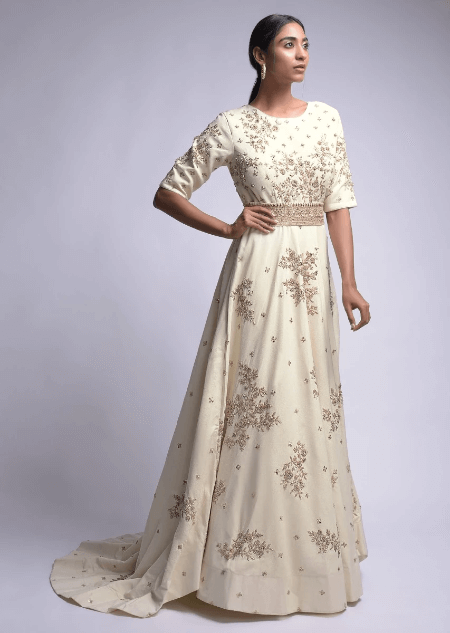 Off White Indowestern Gown With Embroidered Floral Motifs And Embellished Belt Online