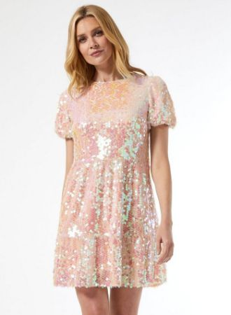 Pink Premium Sequin Smock Mini Dress