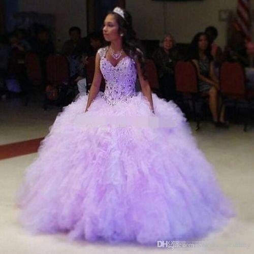 Romantic Lilac Quinceanera Dresses 2018 Puffy Skirt Tulle Purple Sweet 16 Dresses Cap Sleeve Girls Debutante Dress Vestido de 15 nos