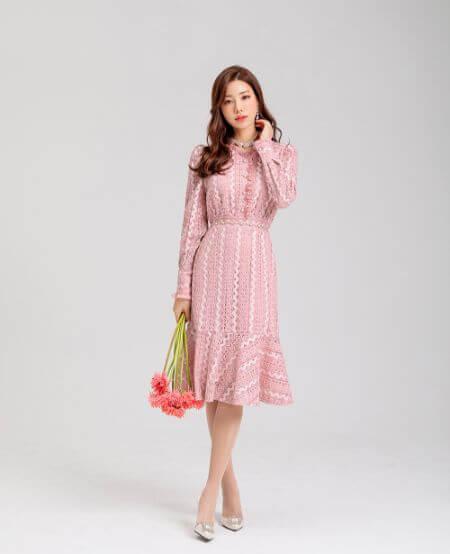 Romantic Pink Lace Flared Hem Dress
