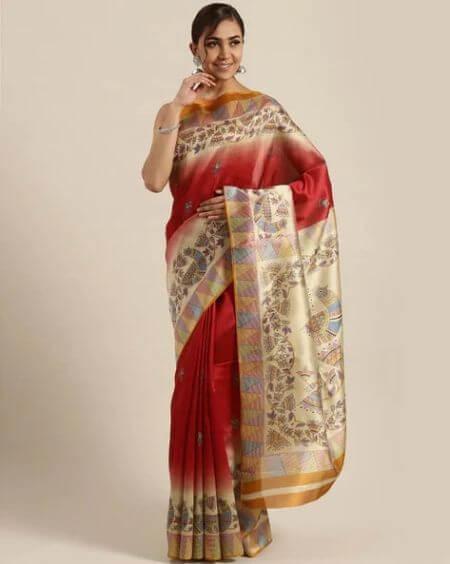SAREE MALL Saree Mall Maroon Daily Art Silk Printed Saree
