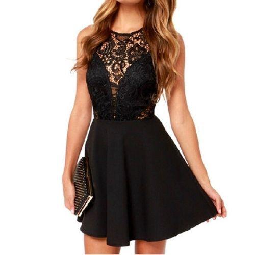 Sleeveless Lace Stitching Sexy Open Back Dress