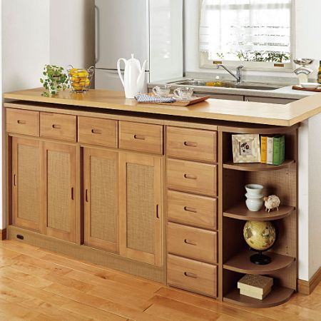 Sliding door storage under the counter with selectable depth