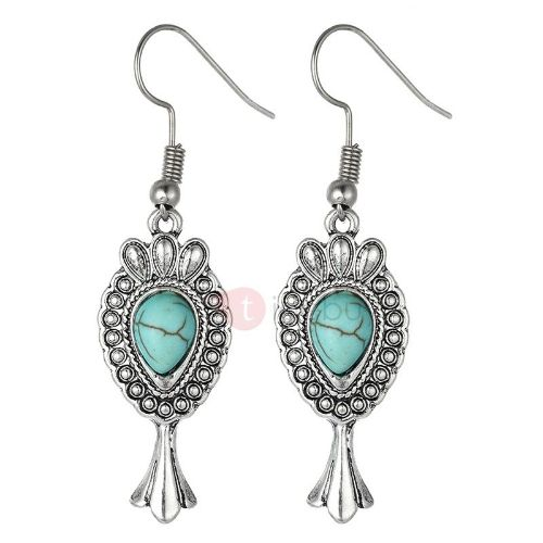 Turquoise Decorated Alloy Drop Ethnic Earrings