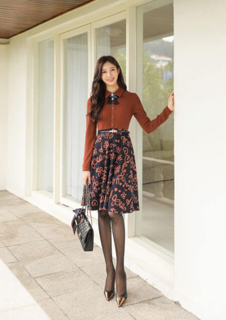 Two Color Combined A-line Knit Dress with Belt
