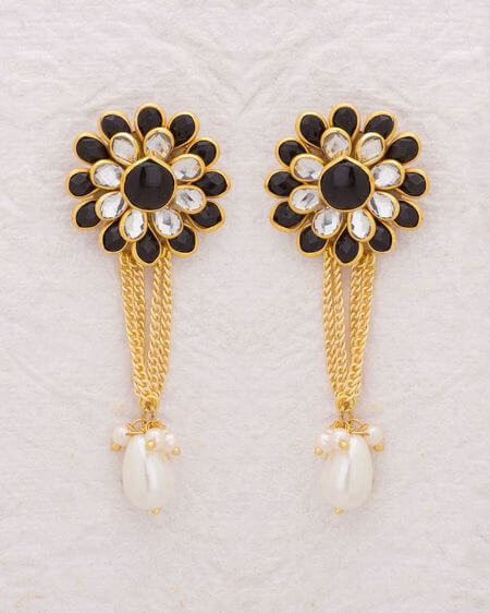 White and Black Gem Studded Drop Earrings