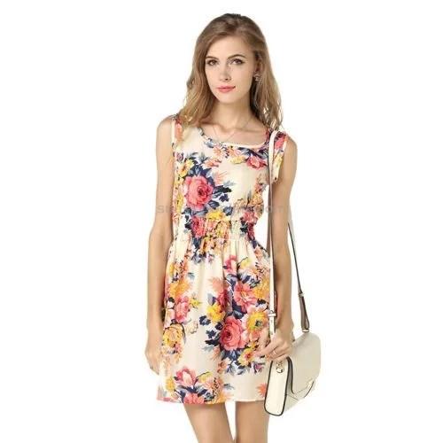 Women Summer Sleeveless Vest Dress Printing Pattern Floral Skirt